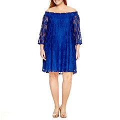 Sharagano Short Sleeve Lace Sheath Dress-Plus