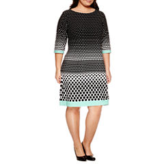 Studio 1 3/4 Sleeve Sheath Dress-Plus