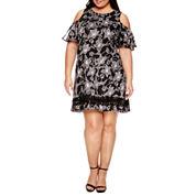 Dr Collection Short Sleeve Cold Shoulder Sheath Dress-Plus