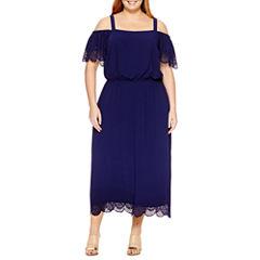 Robbie Bee Short Sleeve Maxi Dress-Plus