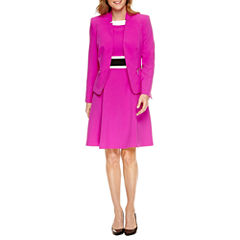 Black Label by Evan-Picone Long Sleeve Jacket or Sleeveless Colorblock Fit and Flare Dress