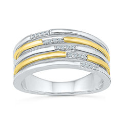 Womens Diamond Accent White Diamond Gold Over Silver Cocktail Ring