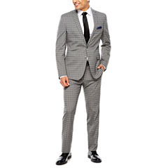 Nick Graham Grey Windowpane 2-pc. Suit Sets-Slim