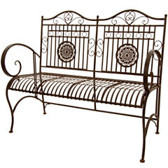 Oriental Furniture Rustic Metal Garden Bench