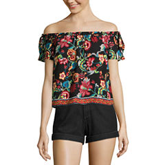 by&by Short Sleeve Woven Blouse-Juniors