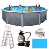 Blue Wave Madagascar Complete 24-ft Round 52-in Deep Metal Wall Pool Pkg