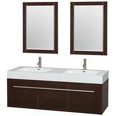 Axa 60 inch Double Bathroom Vanity; Acrylic ResinCountertop; Integrated Sinks; and 24 inch Mirrors