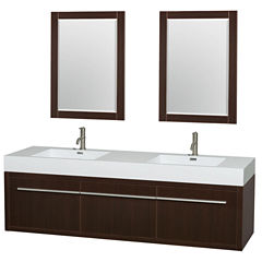 Axa 72 inch Double Bathroom Vanity; Acrylic ResinCountertop; Integrated Sinks; and 24 inch Mirrors