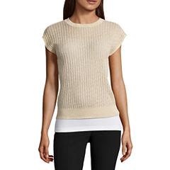 Worthington Short Sleeve Crew Neck Pullover Sweater