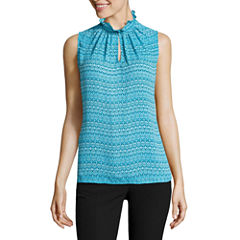 Worthington Sleeveless V Neck Dobby Blouse
