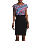 Alyx® Cap-Sleeve Abstract Ikat Belted Sheath Dress