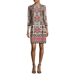 London Style 3/4 Sleeve Shift Dress-Petites
