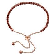 Womens Red Garnet Sterling Silver Bolo Bracelet