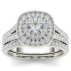Womens 3/4 CT. T.W. Genuine White Diamond 14K Gold Bridal Set