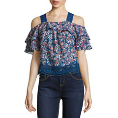 Self Esteem Short Sleeve Cold Shoulder Sleeve Floral Peasant Top Juniors