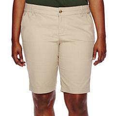 Arizona Woven Bermuda Shorts-Juniors Plus