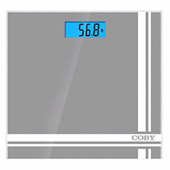 COBY Printed Digital Glass Bathroom Scale with Bright Blue LCD Display, Gray