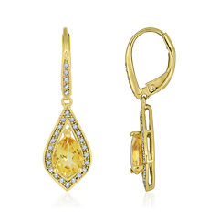Heat-Treated Citrine & Lab-Created White Sapphire Drop Earrings