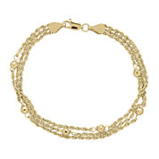 Infinite Gold™ 14K Yellow Gold Bead Station Hollow Triple-Rope Chain Bracelet