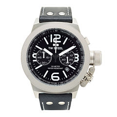 TW Steel Canteen Mens Black Dial Leather Strap Watch