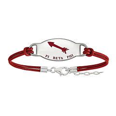 Pi Beta Phi Enameled Sterling Silver Oval Leather Bracelet