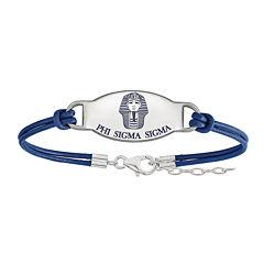 Phi Sigma Sigma Enameled Sterling Silver Oval Leather Bracelet