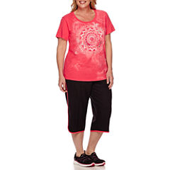 Made for Life™ Short-Sleeve Screen Tee or Piped Curve-Leg Capris - Plus