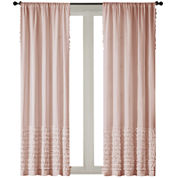 Kylie Horizontal-Ruffle Rod-Pocket Curtain Panel