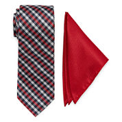 U.S. Polo Assn.® Check Tie and Solid Pocket Square Set