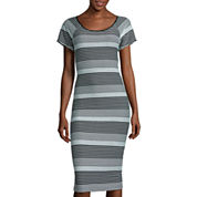 Worthington® Short-Sleeve Striped Midi Dress