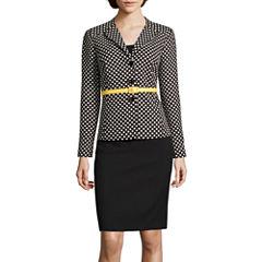 R&K Originals® Long-Sleeve Belted Polka Dot Jacket with Solid Skirt