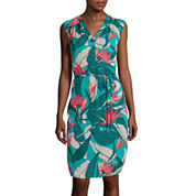 Liz Claiborne® Sleeveless V-Neck Tropical Dress