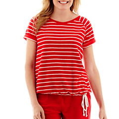 Silverwear™ French Terry Side-Striped Ruched T-Shirt - Petite