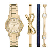 Liz Claiborne Womens Gold Tone 4-pc. Watch Boxed Set-Lc9048