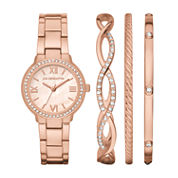 Liz Claiborne Womens Rose Goldtone 4-pc. Watch Boxed Set-Lc9049