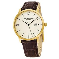 Stuhrling Mens Brown Strap Watch-Sp15663