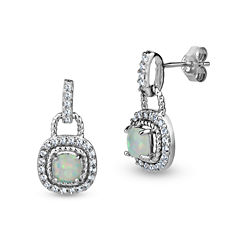 White Opal Sterling Silver Drop Earrings