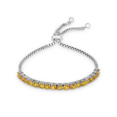 Womens Yellow Citrine Sterling Silver Bolo Bracelet