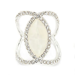 Sparkle Allure White Crystal Silver Over Brass Band