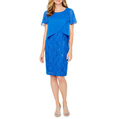 Ronni Nicole Short Sleeve Sequin Pattern Sheath Dress