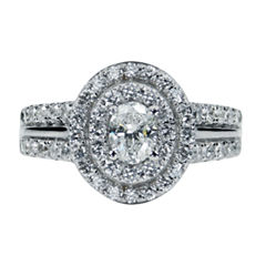 Modern Bride Signature Womens 1 1/2 CT. T.W. Oval Diamond 14K Gold Engagement Ring