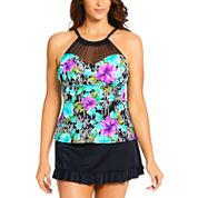 St. John's Bay High Neck Mesh Tankini Lily Swimsuit Top or Ruffle Swim Skirt