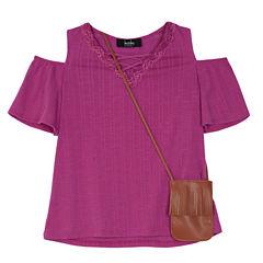 by&by girl Easy Care V Neck Short Sleeve Flutter Sleeve Blouse - Big Kid Girls