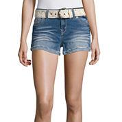 Wallflower Belted Denim Shorts-Juniors
