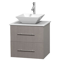 Centra 24 inch Single Bathroom Vanity; White Man-Made Stone Countertop; Pyra White Porcelain Sink; and No Mirror