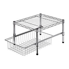 Honey-Can-Do® Adjustable Shelf with Basket Cabinet Organizer