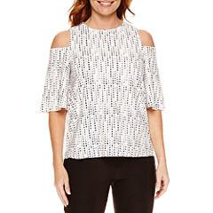 Worthington Short Sleeve Split-Back T-Shirt