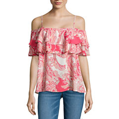 i jeans by Buffalo Ruffle Cold Shoulder Top