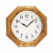 Seiko® Decorative Wall Clock With Solid Oak CaseQxa102bc