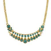 1928® Jewelry Gold-Tone Blue Crystal Bib Necklace